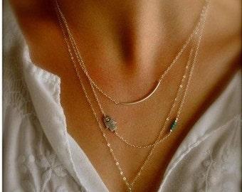 Evil Eye, Fatima, Hamsa Hand, Gold Layered Necklace, Birthday gift
