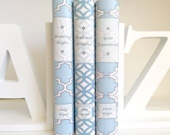 Vintage Books with Blue Custom Covers, Blue Books with Custom Covers, Vintage Classic Books with Blue Custom Covers, Blue Decorative Books