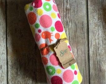 Polka Dots with Birds Flannel Receiving Blanket