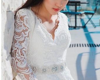 Emma Wedding Dress Lace Customize Neckline, Sleeve, Train