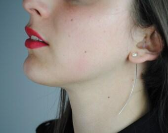 pendientes con perla, pendientes aguja, pendiente plata, pendiente costura, pendiente minimalista, pendientes sencillos, pendientes alfiler