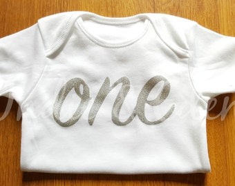 Silver Glitter Girls Baby One 1st Birthday Vest Baby Grow Babygrow Cake Smash Photo Prop