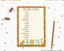ON SALE Safari Baby Word Scramble , Wild Animals Baby Shower Game , Jungl Safari Unscramble Game . Printable Download Baby Word Scramble Car