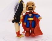Wonder Woman and Bald Superman Wedding Cake Topper