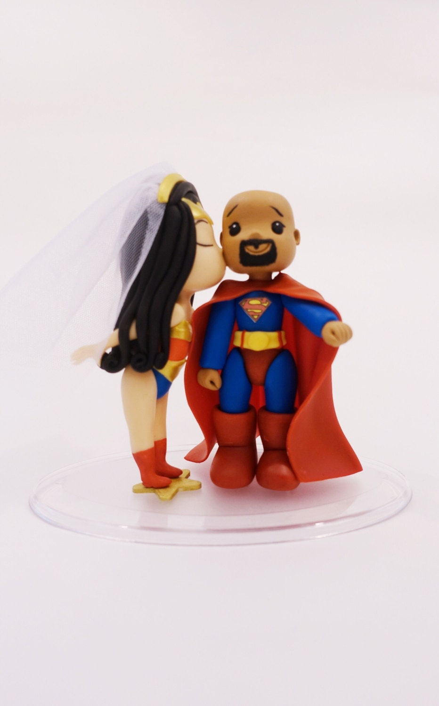 Wonder Woman and Bald Superman Wedding Cake Topper