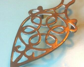 Vintage brass trivet table plate ornament trinkets kitchenalia
