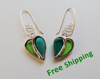 Colorful leaf earrings, FREE SHIPPING, glass and silver earrings, stained glass