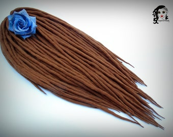 "Wool Dreadlocks Dreads "" Aromatic Carmel "" DE"