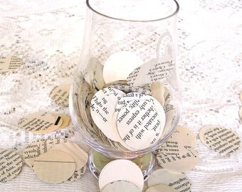 Book Page Confetti - 1 Inch Circles for Weddings - Photo Props - Party Confetti - Table Decorations, Scrapbooking, Card Making - 250 Count