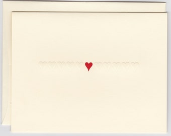Foldover Note: Row of Embossed Hearts/Red Center Heart