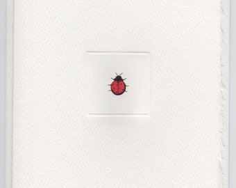 Deckle Edge Foldover note: LADY BUG