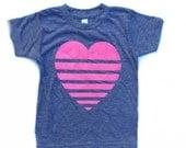 Kids pink stripe heart