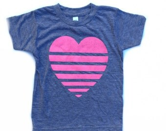 Kids pink stripe heart