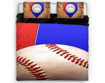 Baseball Comforter, Baseball Bed, Baseball Bedding, Sports Comforter, Sports Bed, Twin, Full, Queen, King, Cotton