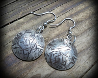 Hammered Nickel earrings - Hand crafted from Nickels - coin jewelry - coin earrings