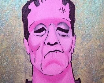 "Pink Frankenstein glitter and acrylic painting 12""X12"""