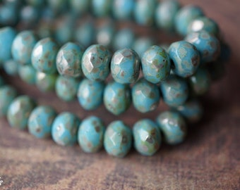 Blue Turquoise, Rondelle Beads, Czech Beads, N1855