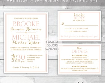 Blush/Gold Printable Wedding Invitation Set | Classic | Brooke Collection | RSVP & Details/Enclosure Card | Custom Colors Available