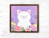 Purple cat poster printable, cat print, acrylic painting, printable wall decor, acrylic art, art print, nursery decor, baby shower gift