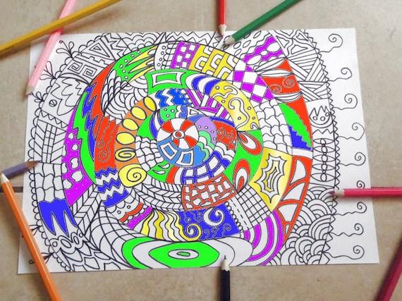 Immagine da colorare adulti spirale mandala astratto zen arte - Arte celtica colorare le pagine da colorare ...