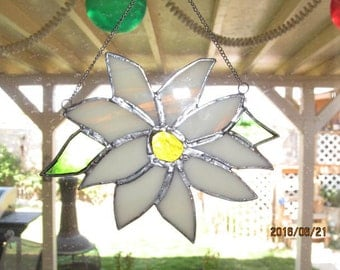 Poinsettia stained glass suncatcher  (white)