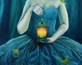 "8x10 Fine Art Print, ""Eventide Dancers"", Lantern and Luna Moths"