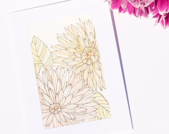 Pink Yellow Asters, Flowers - Watercolour Unique Hand Painted Greeting Card (Anniversary, Birthday, Thank you, Get well, Good luck card)