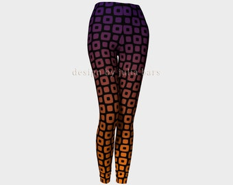 Black and Orange Leggings, Yoga Leggings, Brown Tights, Printed Ombre Leggings, Womens Tights, Womens Clothing, Yoga Pants, XS, S, M, L, XL