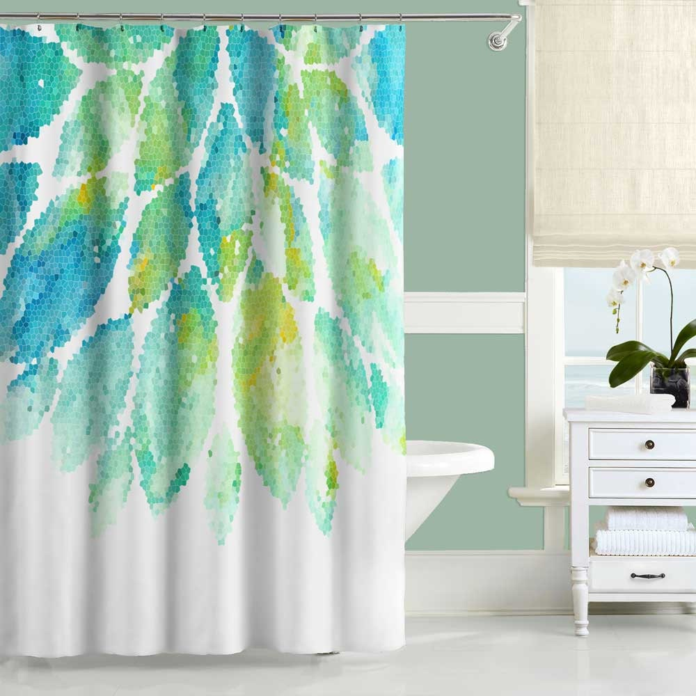 Turquoise Shower Curtain Mint Yellow Blue And White Shower