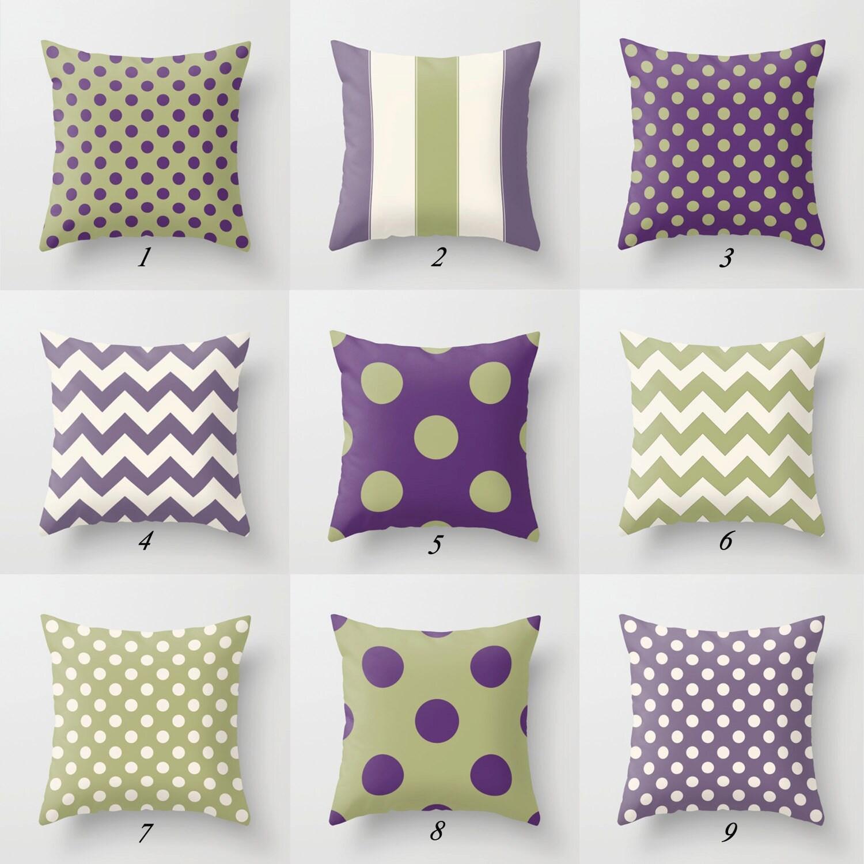Sage Green Pillows Purple Throw Pillows Chevron Pillow