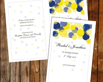 Wedding program template –DOWNLOAD PRINTABLE Microsoft word template, (Beautiful lights) DIY foldable cover, blue and yellow program