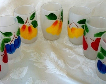 Set Of 7 Colorful Gay Fad Frosted Tumblers