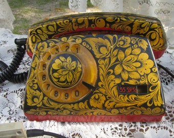 Vintage Old And Shaby Working Khohloma Painted USSR Rotary Telephone, Corded Home Rotary Old Shabby Fancy Telephone USSR Classic Painting