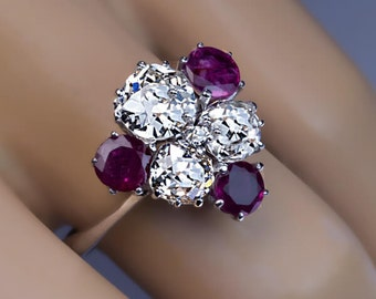 Vintage Diamond Ruby White Gold Engagement Ring