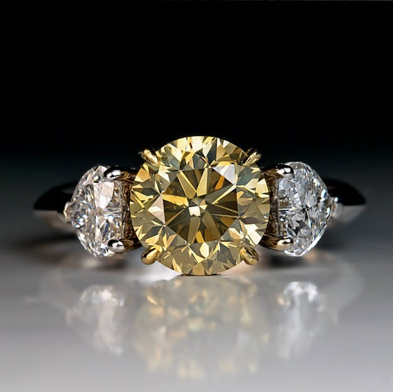 ct fancy color diamond three stone engagement ring. Black Bedroom Furniture Sets. Home Design Ideas
