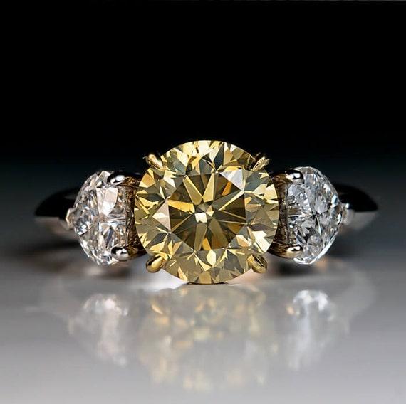 250 Ct Fancy Color Diamond Three Stone Engagement Ring