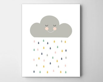 colorful rain cloud art for kids room. baby nursery print,  nursery wall art, scandinavian, nursery decor, nursery wall art, nursery decor