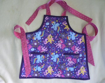 Girls My Little Pony Apron Purple Apron with Pockets Birthday Gift for Girl Toddler Apron
