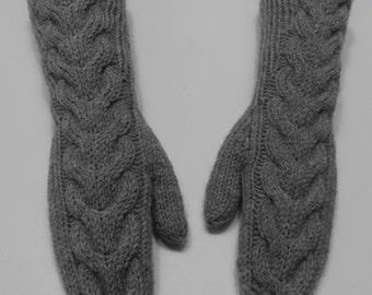 Twilight Bella mittens - gray mittens - long knitted mittens - grey wool knit mittens - women's mittens