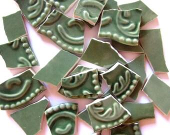 27 Green Mosaic Tiles, Green Textured Tiles, Sage Green Tesserae for Mosaic, Sage Mosaic Pieces, Mosaic Ceramics, Tiles with Texture