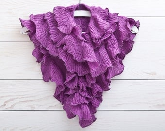 Purple Ruffle Scarf, Frilly Scarf, Lace Scarf, Gift for Her, valentines gift, Womens Accessories (009)