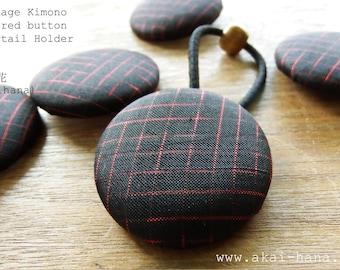 Vintage Kimono Covered Button Ponytail Holder, Black & Red
