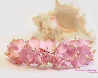 Tiara with flowers, hair hoop, Hair Accessories, Wrap with flowers, flowers from foam, hair ornament, Hydrangea, wreath for the bride