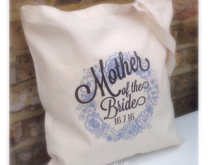 Personalised bridal party tote bag. Hen do | Bride to be | Bridesmaid | Maid of honour | Mums | Any colour. Something new & blue