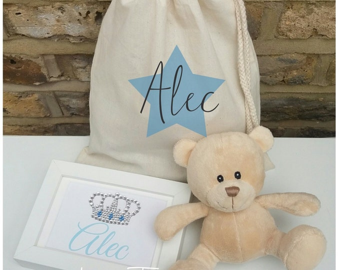 Personalised gift bag set. crystal crown/tiara framed print | Teddy | Children' gift | Keepsake | Any words & colour, Newborn, Birthday gift