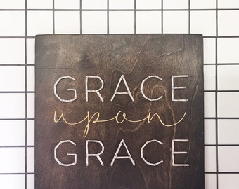 Grace Upon Grace String Art Mixed Media Wooden Sign
