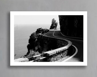 Amalfi Print (Black and White Photograph, Wall Art, Home Decor, Digital Print, Instant Download, Unframed or Framed print)