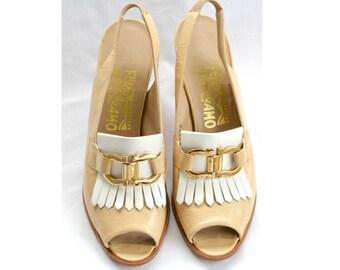 Ferragamo sling back peep toe heels SIZE 8 AAA