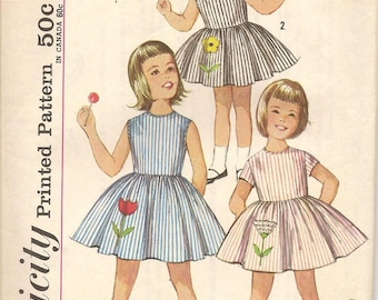 1960s Vintage Simplicity 4878 Girls One Piece Dress Sewing Pattern Size 4