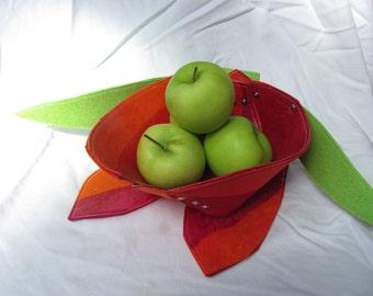 Tulip Bowl/Modern Handmade Fabric Bowl / Marimekko Fabric Bowl / Fruit Bowl / Centerpieces /Fiber Art / Design4Color / Red Orange
